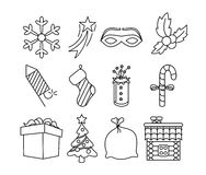 Christmas icons black and white Royalty Free Stock Photography
