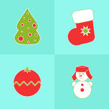 Christmas icons on a blue background. With tree, snowman, stocking, ball Royalty Free Stock Photography