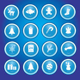 Christmas icons in blue circles collection Stock Images