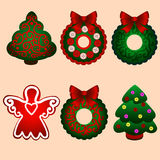 Christmas icons. Christmas decorations. Vector illustration Stock Photography