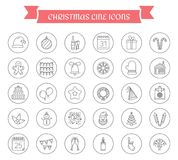 30 Christmas Icons. 30 Christmas line icons in circles Royalty Free Stock Photo