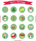 CHRISTMAS ICONS COLLECTION BANNER AND 16 ITEMS.  royalty free illustration