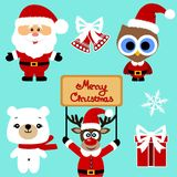 Christmas icons. Collection. Santa. New Year Christmas decoration Vector illustration Stock Photography