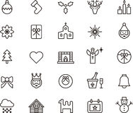 Christmas icons. A collection of Christmas and holiday icons Royalty Free Stock Photo