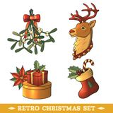 Christmas icons colored set Stock Images