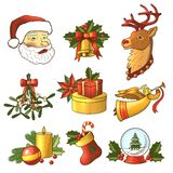 Christmas icons colored set Royalty Free Stock Images