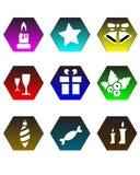 Christmas Icons. Colorful set of Christmas Icons Stock Photo
