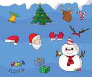 Christmas icons. Colorful Christmas icons, vector clip art set Royalty Free Stock Images
