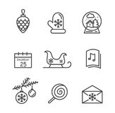 Christmas Icons Colorless Vector Illustration. Christmas icons colorless collection, mitten with snowflake image, calendar with date, sled and candy, branch and Stock Image