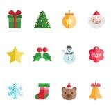 Christmas icons. Cute and colorful christmas icons set Stock Photos