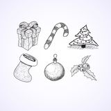 Christmas icons doodles sketchbook Stock Images