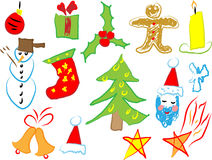 Christmas icons draw by a child.  Royalty Free Stock Image