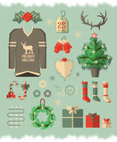 Christmas icons, elements and illustrations Stock Images