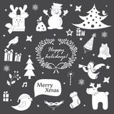 Christmas icons, elements and illustrations set Stock Photo