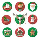 Christmas icons vector images funny set. Flat illustrations vector illustration