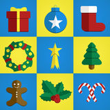 Christmas icons flat design Stock Photo