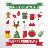 Christmas icons, flat style. Square buttons with New Year items Royalty Free Stock Photo