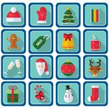 Christmas icons, flat style. Square buttons with New Year items Royalty Free Stock Photos