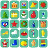 Christmas icons flat. Vector graphic illustration design art Stock Image