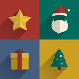 Christmas Icons flats design set with long shadow. Vector illustration Stock Photo