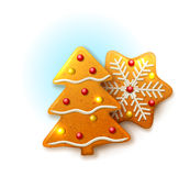 Christmas icons with gingerbread Stock Photos