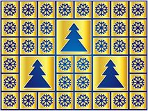 Christmas icons golden snowflakes and trees Stock Photo