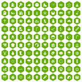 100 christmas icons hexagon green. 100 christmas icons set in green hexagon isolated vector illustration Royalty Free Stock Image
