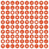 100 christmas icons hexagon orange Royalty Free Stock Photography