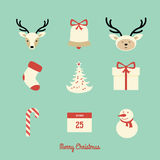 Christmas icons. And illustration vintage card Stock Photography