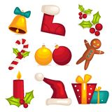 Christmas icons isolated Stock Images