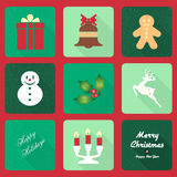 Christmas icons with long shadow effect Stock Photo