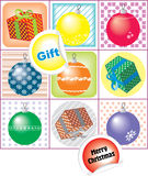 Christmas icons with New Year's balloons and gifts.  royalty free illustration