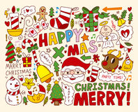 Christmas Icons Objects Collection Royalty Free Stock Photo