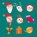 Christmas icons objects collection detailed Royalty Free Stock Photo
