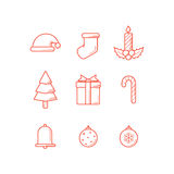 Christmas Icons Outline Stock Photo