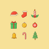 Christmas Icons Outline Royalty Free Stock Photo
