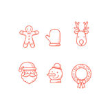 Christmas Icons Outline Stock Photos