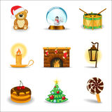 Christmas icons, part 3. Set of 9 Christmas and New Year icons Stock Photo