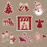 Christmas icons. The red and beige Stock Images
