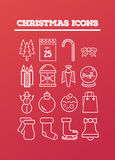 Christmas icons on red vector Royalty Free Stock Image