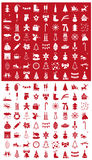 Christmas icons on a red and white Royalty Free Stock Image