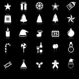 Christmas icons with reflect on black background Stock Photography