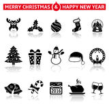 Christmas icons. With reflection on white background Royalty Free Stock Photos