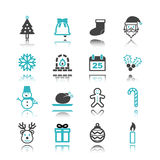 Christmas icons with reflection Stock Photography