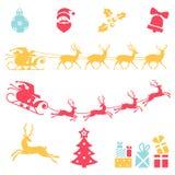 Christmas icons. Santa claus sleigh. Stock Photos