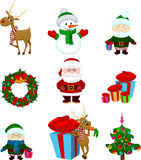 Christmas icons santa and friends royalty free illustration