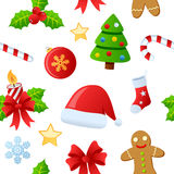 Christmas Icons Seamless Pattern. A seamless pattern with Christmas icons and decorations, isolated on white background. Useful also as design element for Royalty Free Stock Photos