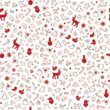 Christmas icons seamless pattern, Happy Winter Holiday background Royalty Free Stock Photos