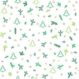 Christmas Icons Seamless Pattern with New Year Tree, Snow and St Royalty Free Stock Photos