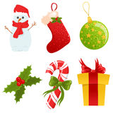 Christmas icons set. Set of cute isolated christmas icons Stock Photography